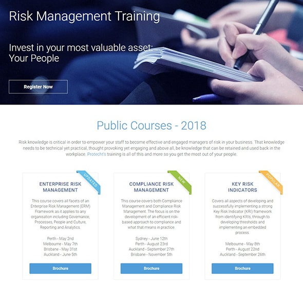 Protecht Training Registration landing page