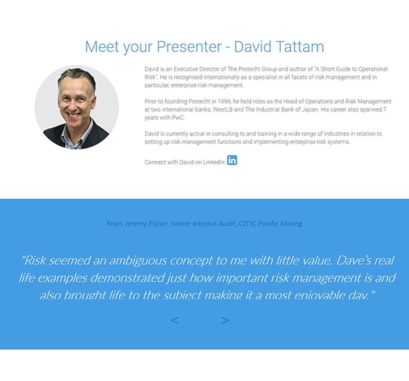 Protecht Training Registration testimonials
