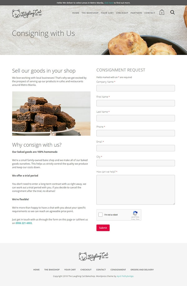 Landing Page design for The Laughing Cat Bake Shop