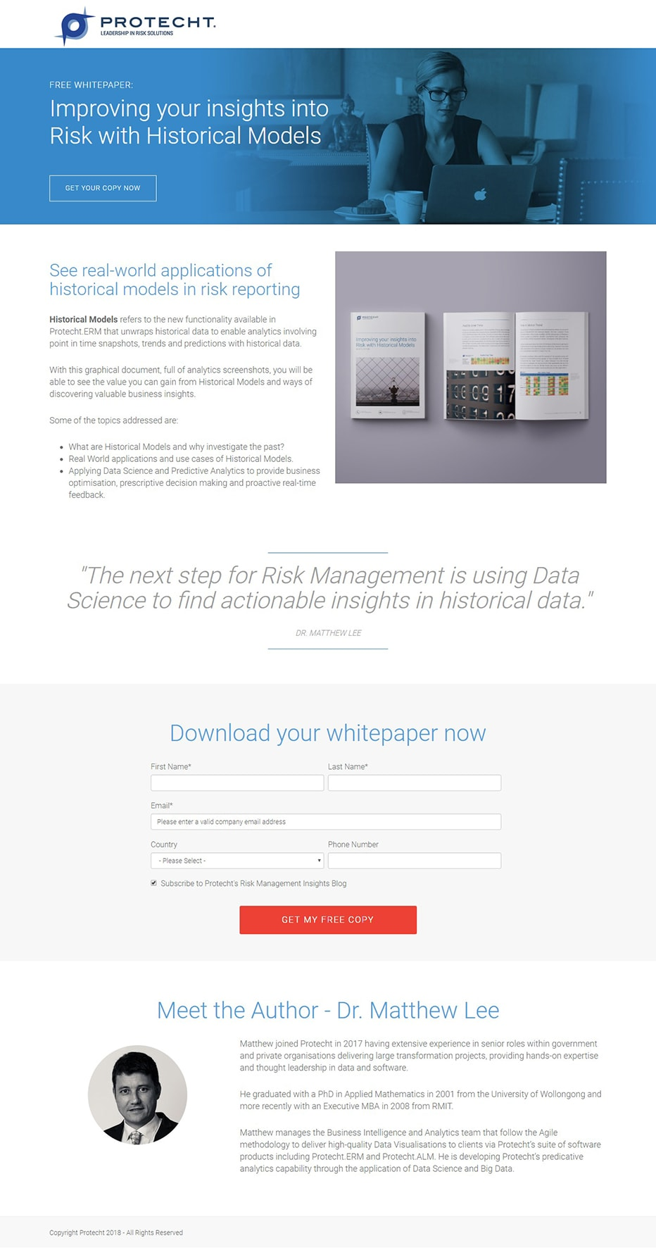 Protecht whitepaper landing page